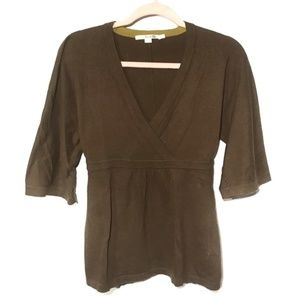 Boden kimono sleeve cross front sweater in olive